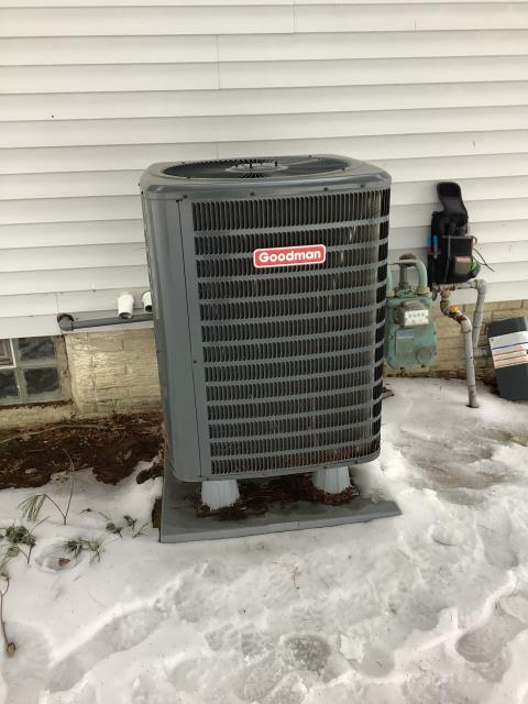 Pataskala, OH - I completed a diagnostic on a Goodman heat pump with a Luxaire gas furnace.  Determined that the filter was dirty.  Client to replace filter.  Determined that the heat pump was low on refrigerant.  Client has decided to run the gas furnace for the remainder of the winter.  Once temperature get above 60 degrees heat pump will need to have refrigerant pressures checked.  Cycled and monitored the system.  Operating normally at this time.