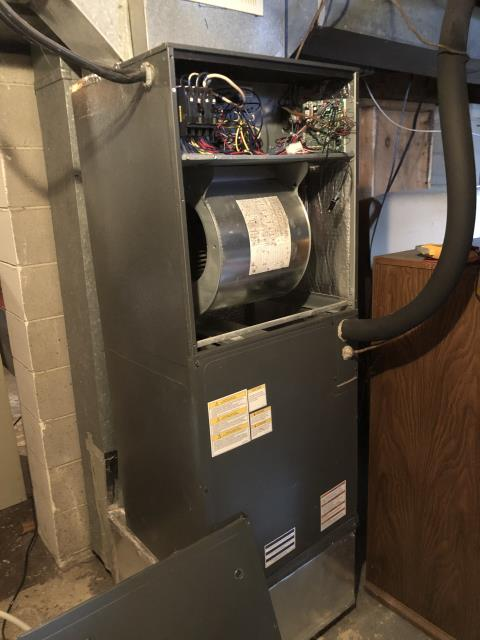 Pickerington, OH - I completed a diagnostic on a Goodman gas furnace.  Found that the unit was blowing the 3 amp fuse.  Determined that there was a spliced O wire at the heat pump.  I repaired the wiring for the O wire and the wire at he reversing valve.  Cycled and monitored the system.  Operating normally at this time.