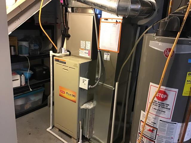Pataskala, OH - I completed the service maintenance agreement tune up on a Bryant gas furnace.  I visually inspected the unit.  Noted that there is rust and calcification on the heat exchanger.  Noted rust on the burners and dust on the blower.  I cleaned the flame sensor.  Checked voltages, amps and pressures.  Blower motor capacitor is weak.  Client declined to replace at this time.  Completed combustion analysis.  Cycled and monitored system.  Operating normally at this time.