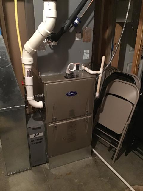 Xenia, OH - After removing the ICP/Heil gas furnace, I installed a Carrier 96% 100,000 BTU Gas Furnace.  Cycled and monitored the system.  Operating normally at this time.  Included with the installation is a free 1 year service maintenance agreement.