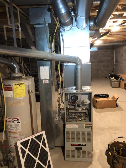 Groveport, OH - I found that both the blower motor and the control board are bad and will need replaced. Due to age and cost of repairs, customer has opted to replace current Trane system with a Carrier 80% 70,000 BTU Gas Furnace.