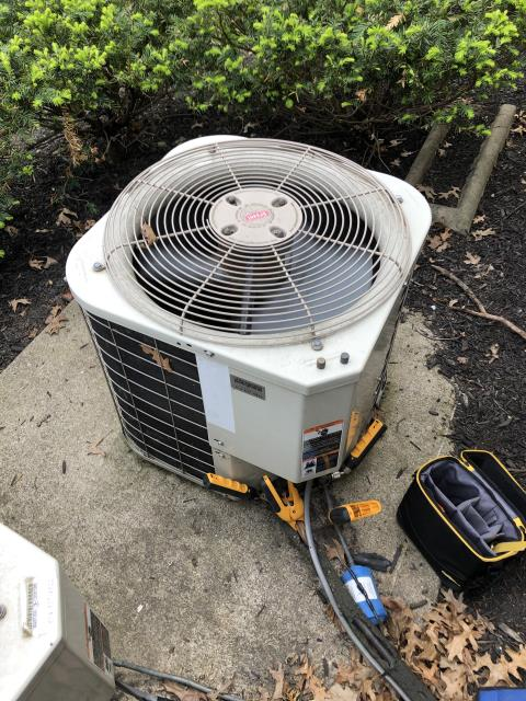 Dublin, OH - During a tune up on a Carrier air conditioner, I tested temperatures, pressures and electrical components. I rinsed the condenser coils with water. All tests and readings are within manufacturers specifications at this time.
