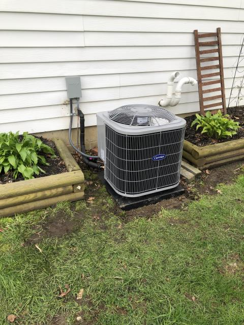 Pataskala, OH - During a tune up on a Carrier 13 SEER 2 Ton Air Conditioner, I tested the pressures, temperatures and electrical components. I rinsed the condenser coils, inspected the blower wheel, the return air filter and the duct supply. All good at this time.