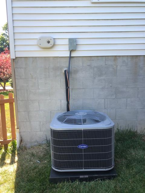 Blacklick, OH - During a tune up on a Carrier air conditioner, I inspected the return air filter, duct system and the blower wheel. I tested the temperatures, pressures, amps and wiring. Everything is operating within manufacturers specifications and system is ready for the cooling season.