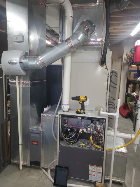 Millersport, OH - I completed a tune up on Airtemp gas furnace and Aprilaire Humidifier.  I visually inspected the unit. Checked voltages, amps and pressures.  Completed combustion analysis. Cycled and monitored system.  Operating within manufacture specs at this time.