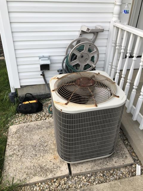 Etna, OH - I found that the fan motor is running slow and the dual capacitor is bad. Customer authorized replacing the capacitor. I wired capacitor and tested and cycled the system. The Payne air conditioner is now cooling the home as intended.