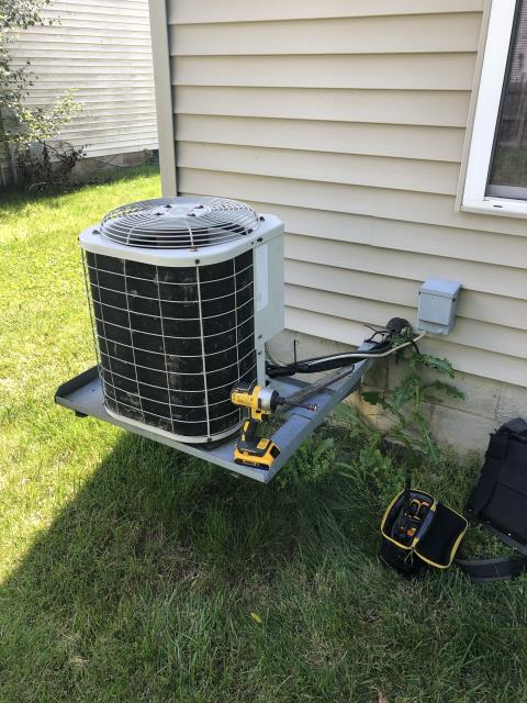 Columbus, OH - I completed the spring tune up on a Bryant air conditioner.  I visually inspected the furnace.  Checked voltage and amps. I inspected the evaporator coil.  I checked the temperature difference across the coil.   Checked refrigerant charge, voltages and amps.  I rinsed the condenser coils with water.  Cycled and monitored the system.  Operating normally at this time.