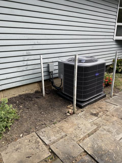 Granville, OH - I arrived on site to perform an tune-up of a 16 SEER 2.5 Ton Air Conditioner that we installed. The  unit was running at manufacturers specifications and the units were running at full functionality at the time of departure.