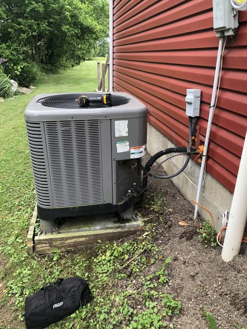 Baltimore, OH - I arrived on site to perform an inspection on a Rheem heat pump. I found that the unit was extremely dirty and the furnace filter was dirty, causing low air flow and the unit to freeze. I cleaned the unit and replaced the filter, and the unit was running at full functionality at the time of departure.