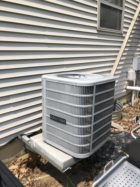 Pickerington, OH - I completed a diagnostic on a Concord air conditioner. I determined that the filter needed replaced and there is ice on the evaporator coil, unable to complete diagnostic until ice is gone.