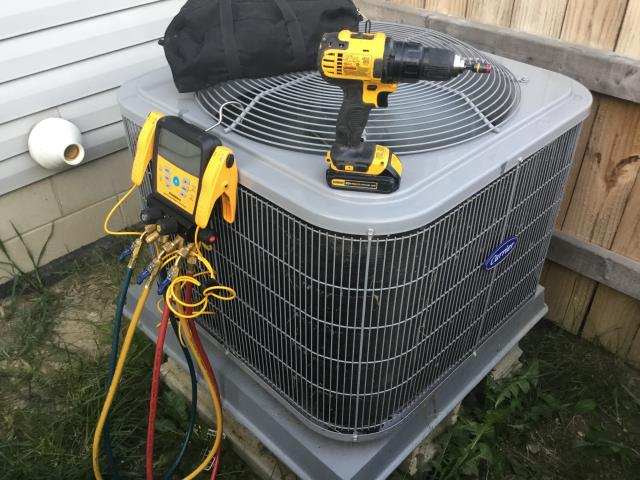 Pataskala, OH - I completed a diagnostic on an Air conditioner. I determined that the system was undercharged. I added some refrigerant to charge the system. System operational at time of departure.