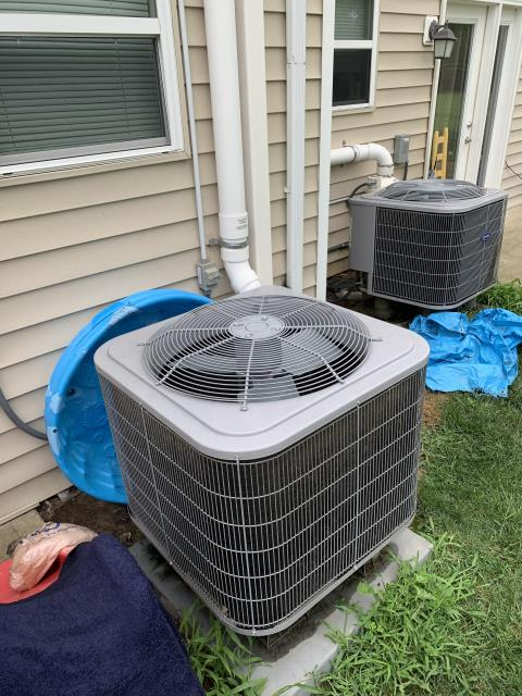 Hebron, OH - I completed a diagnostic on a Carrier Heat Pump. I determined that blower motor is not functioning on any speeds.  Maintenance man had broken the drain pan female fitting. Sent quote for repair.