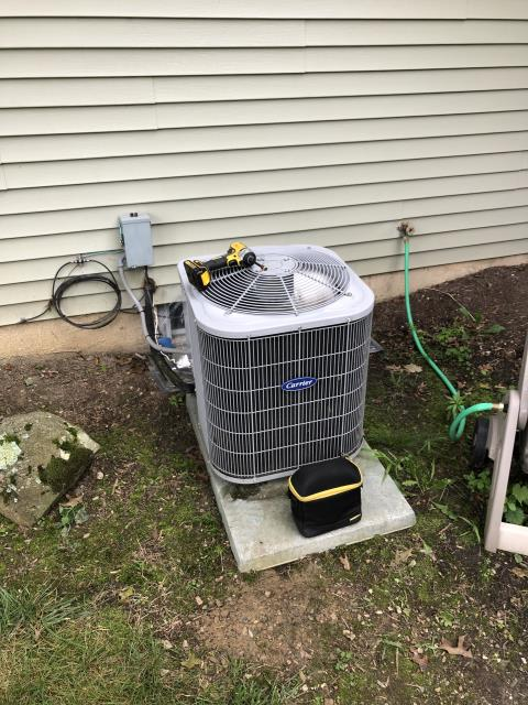 Galena, OH - I performed a diagnostic service call on an air conditioner. Upon arrival customer stated that the system was blowing warm air, called for cooling at thermostat and found the condenser fan motor is turning on but the compressor is not. Added a super boost to circuit, compressor now turns on with hard start installed, Checked pressures, explained to customer that pressures are within range and system is just cooling as best as It can at this time and will struggle to cool during the warmer days, explained all repair versus replace options with customer, customer would like to wait on any further repairs at this time and look into replacement options once system completely fails.  At this time system is cooling as best as It can and is cooling upon departure.