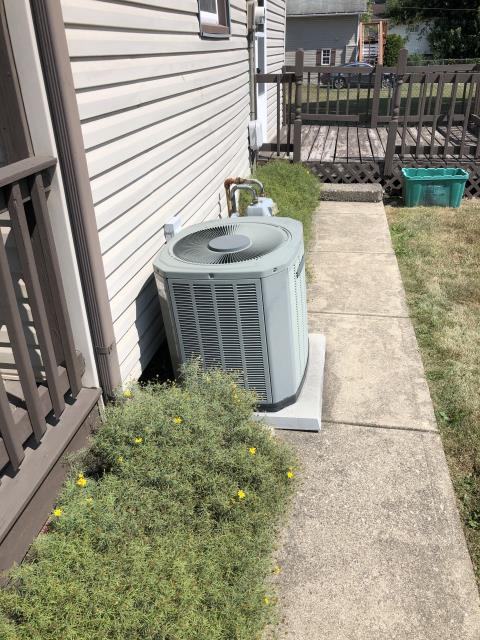 Lancaster, OH - I completed a diagnostic on a Trane air conditioner. I determined that the filter is dirty and being pulled into the motor. I removed the filter and checked pressures. I found unit to be low on refrigerant. I added refrigerant and the system is operational.