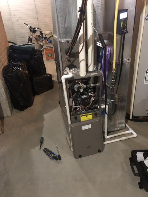 New Albany, OH - I completed a heating safety tune up on a York gas furnace.  I visually inspected the unit.  Checked voltages, amps and pressures.  Completed combustion analysis.  Cycled and monitored system.  Operating normally at this time.