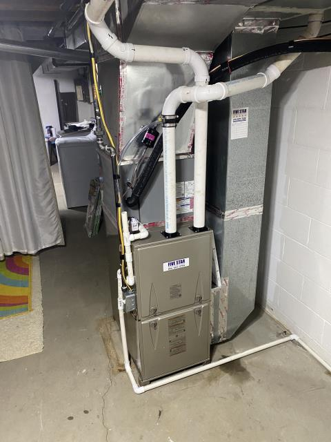 """Baltimore, OH - After removing the Comfortmaker gas furnace and Rheem air conditioner, I installed a Five Star 96% 40,000 BTU Gas Furnace 3T 17"""" and a  Five Star 13 SEER 2 Ton Air Conditioner.  Cycled and monitored the system.  Operating normally at this time."""