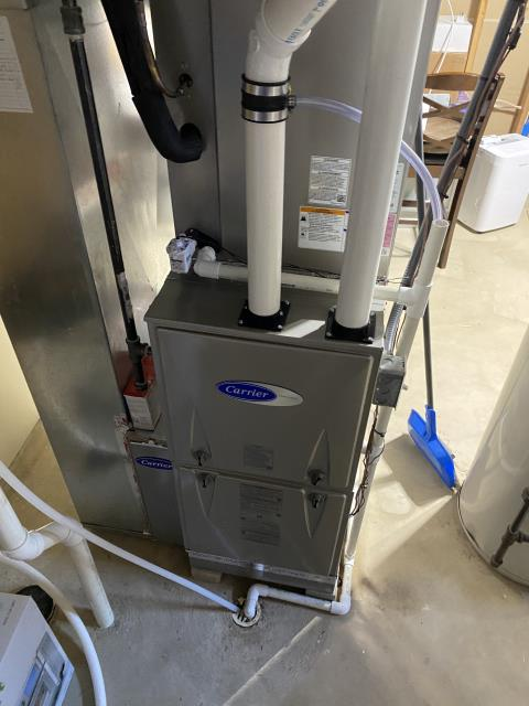 Lewis Center, OH - Upon arrival I completed a Full Install of a Carrier 96% Variable-Speed Two-Stage Gas Furnace 59TP6 (Up to 100,000BTU) Honeywell T6 Programmable Thermostat/Emerson 1F85U Carrier 16 SEER Air Conditioner 24ABC6 (Up to 3 ton). The system is operational upon departure.