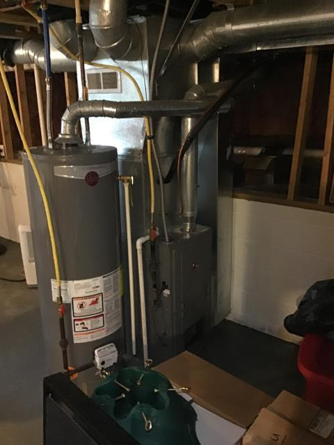 Grove City, OH - I completed the scheduled maintenance agreement heating tune up on a Rheem gas furnace.  I visually inspected the unit.  Checked voltages, amps and pressures.  Completed combustion analysis.  Cycled and monitored system.  Operating normally at this time.