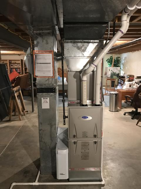 """Westerville, OH - I completed the scheduled maintenance agreement heating tune up on a Carrier """"Infinity Series"""" 96% Variable Speed Two-Stage 80,000 BTU Gas Furnace.  I visually inspected the unit.  Checked voltages, amps and pressures.  Completed combustion analysis.  Cycled and monitored system.  Operating normally at this time."""