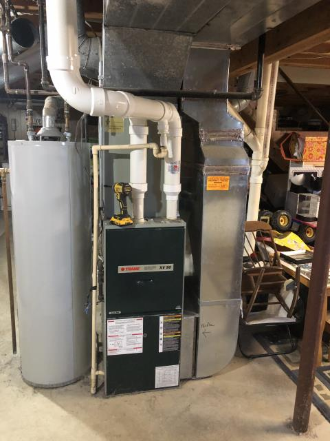 Pickerington, OH - I completed a heating tune up on a Trane gas furnace. I visually inspected the unit and checked voltages, amps and pressures. I found the inducer motor motor bearings are beginning to grind. I called Trane to get the pricing and no longer make the part need. I explained with customer and they approved to replace the furnace.
