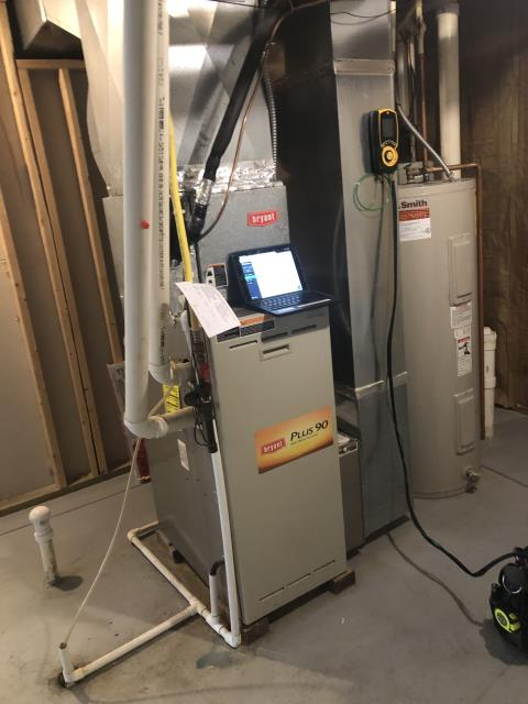Reynoldsburg, OH - I completed a heating tune up on a Bryant gas furnace. I visually inspected the unit and checked voltages, amps and pressures. I found both the ignitor and inducer capacitor readings were low and beginning to fail. I explained this to the customer and sent them an estimate for both repairs and replacement. The system is properly heating at this time.