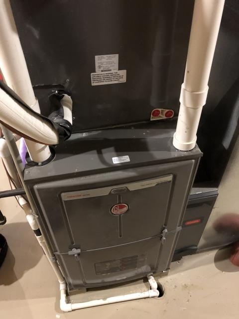 New Albany, OH - I completed the scheduled maintenance agreement heating tune up on a Rheem gas furnace.  I visually inspected the unit.  Checked voltages, amps and pressures.  Completed combustion analysis.  Cycled and monitored system.  Operating normally at this time.