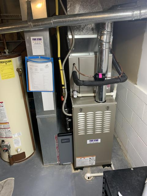 """Reynoldsburg, OH - I installed a Five Star 80% 70,000 BTU Gas Furnace 3T 17"""" and a Five Star 13 SEER 2.5 Ton Air Conditioner. I cycled and monitored the systems and they are operating normally at this time."""