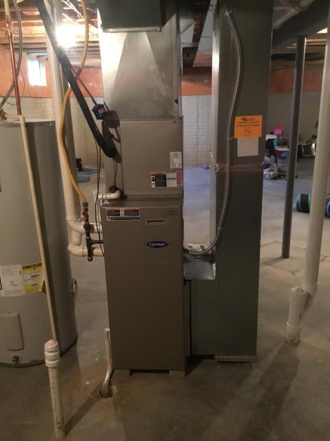 Pickerington, OH - I completed the scheduled maintenance agreement heating tune up on a Carrier gas furnace.  I visually inspected the unit and checked voltages, amps and pressures.  I completed combustion analysis and then cycled and monitored system. It is operating normally at this time.