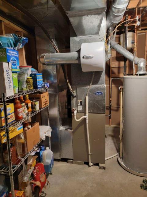 Powell, OH - I completed a heating safety tune up on a Carrier gas furnace.  I visually inspected the unit.  Checked voltages, amps and pressures.  Completed combustion analysis.  Cycled and monitored system.  Operating normally at this time.