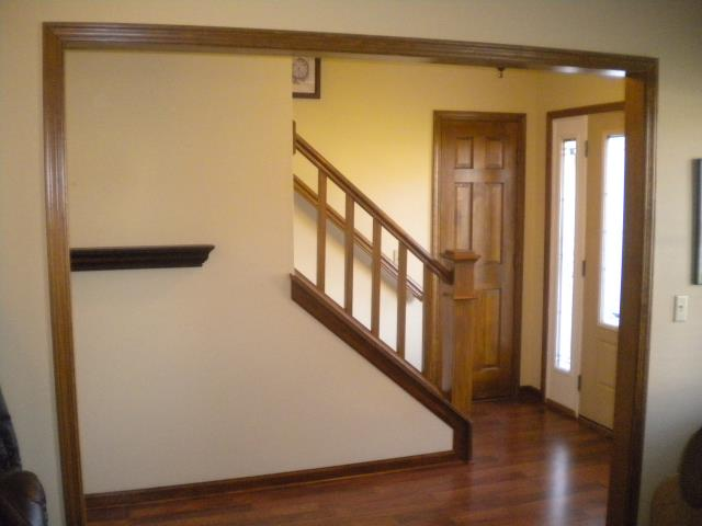 Noblesville, IN - Stairway railing painted and finished.