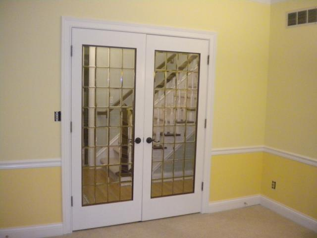 Painted walls, rails and door frame.