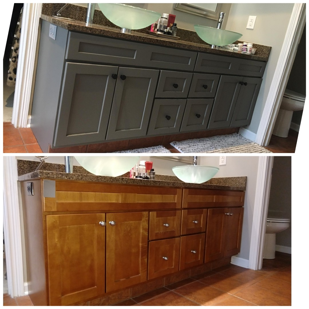 Kitchen island and master bath vanity conversion.