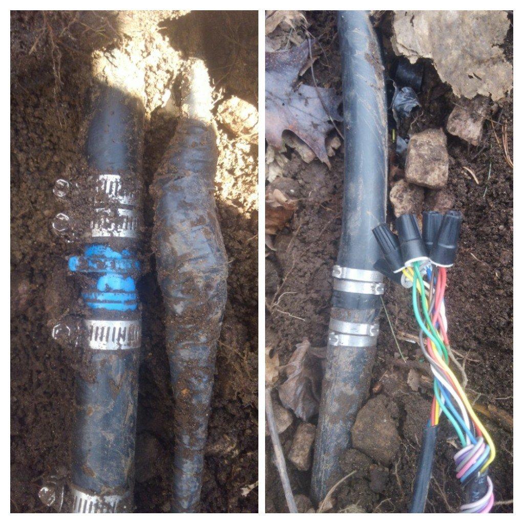 Repair irrigation wire and pipe. Landscaper repair vs irrigation repairs