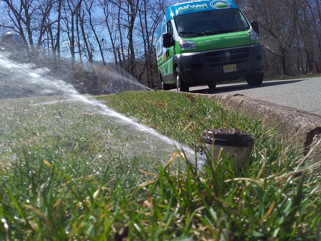 Morris Plains, NJ - Turn on lawn sprinklers for spring