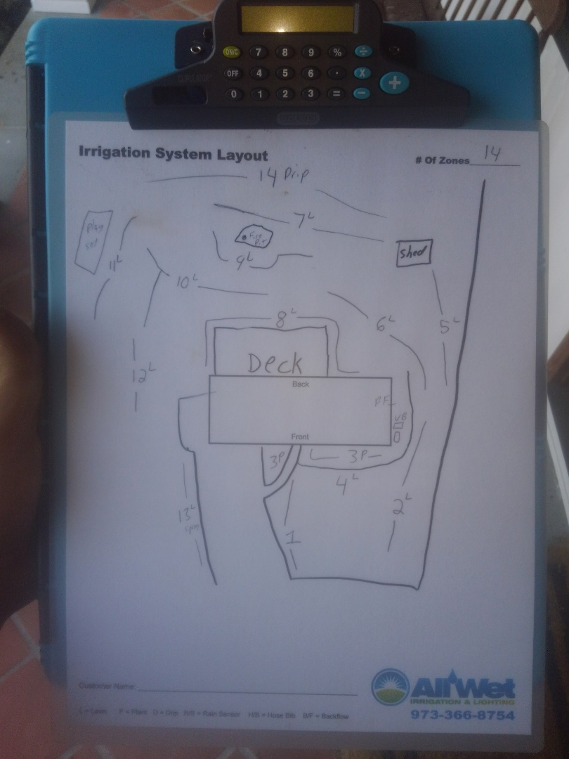 Madison, NJ - Check irrigation system and make necessary repairs. Make map for visual of zone locations for customer