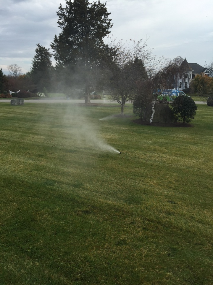 Blowing out irrigation system. Irritrol timer in basement.