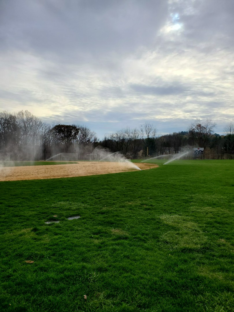 Blow out irrigation system on baseball field
