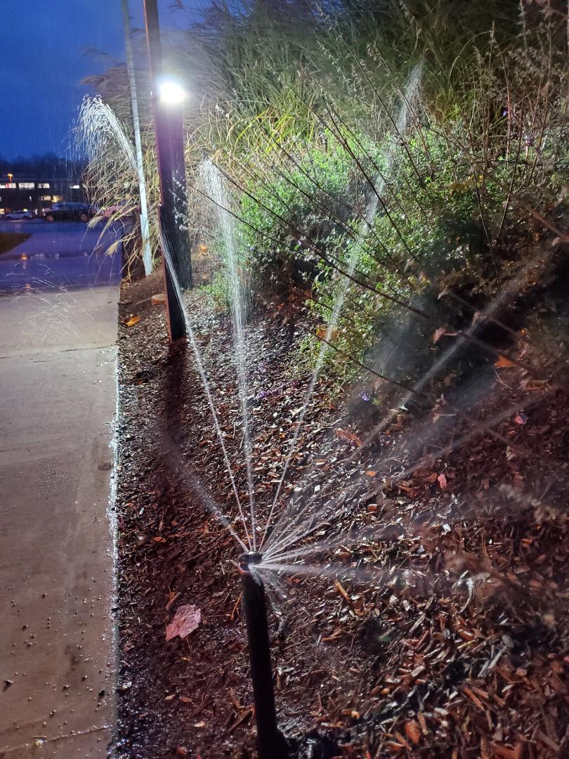 Blow out irrigation system at commercial property