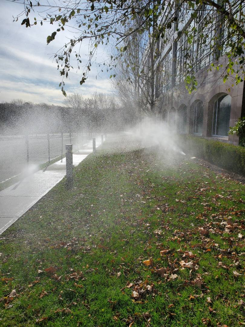 Turn off and blow out irrigation system at commercial building