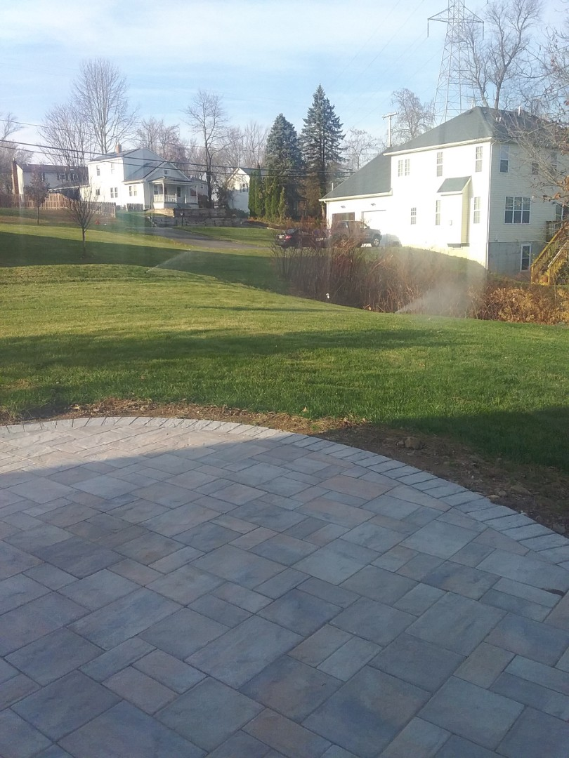 Livingston, NJ - Lawn plants irrigation system water blow out