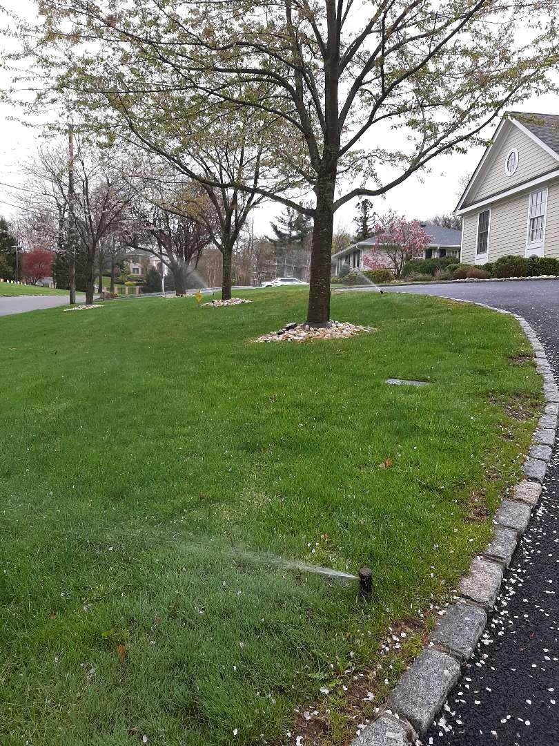 Spring start-up, irrigation sprinkler turn on. In Essex Falls NJ