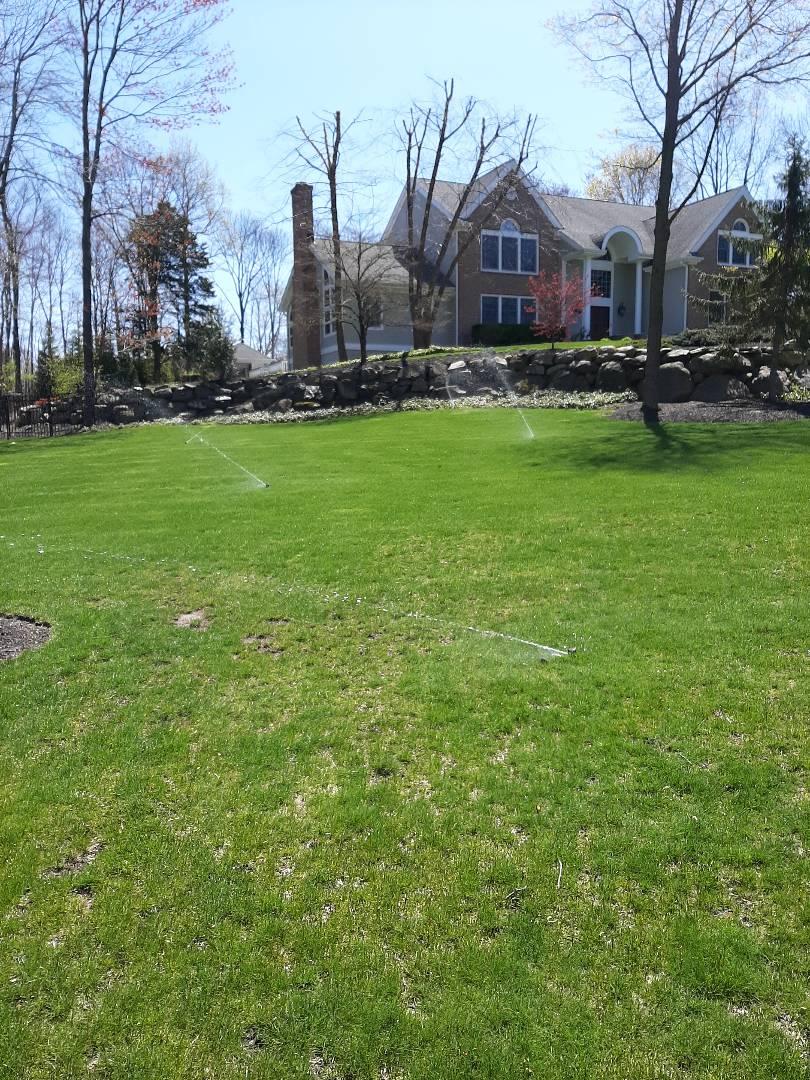 Spring start-up, irrigation sprinkler turn on. In Booton NJ