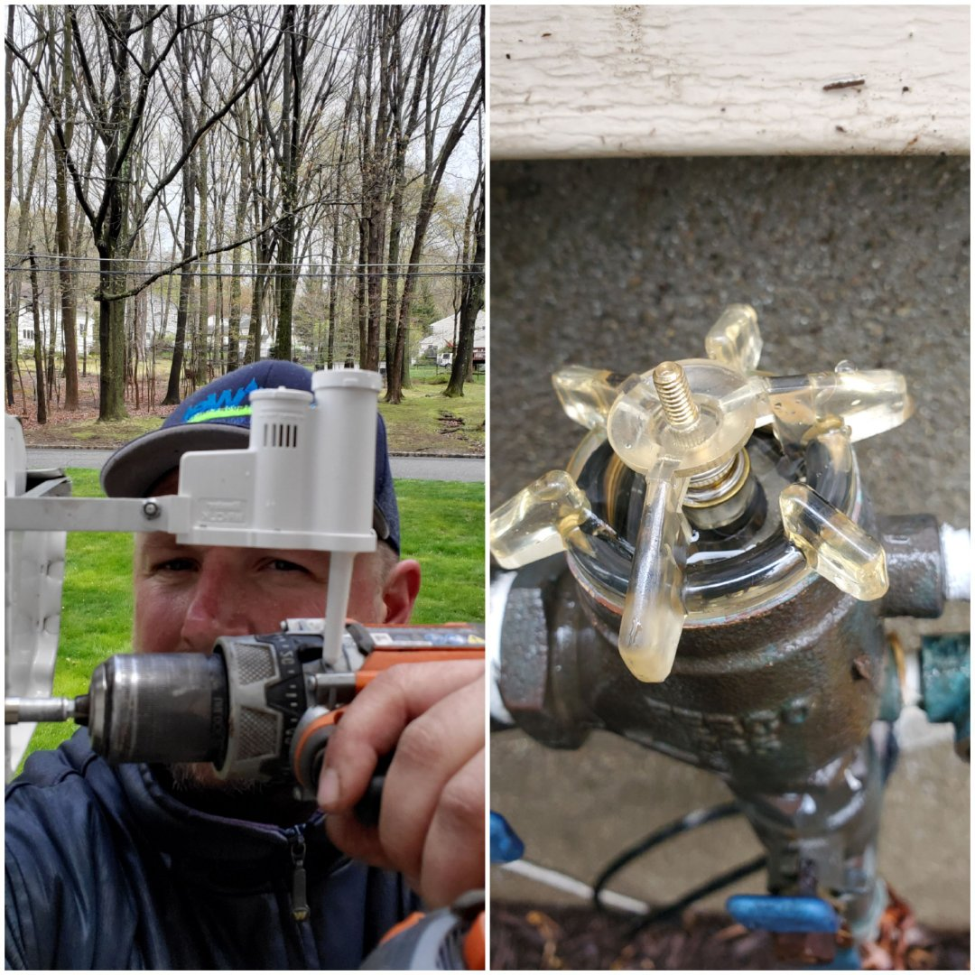 Morris Plains, NJ - Replace rain sensor and backflow internals that were leaking. Go through irrigation system and make adjustments