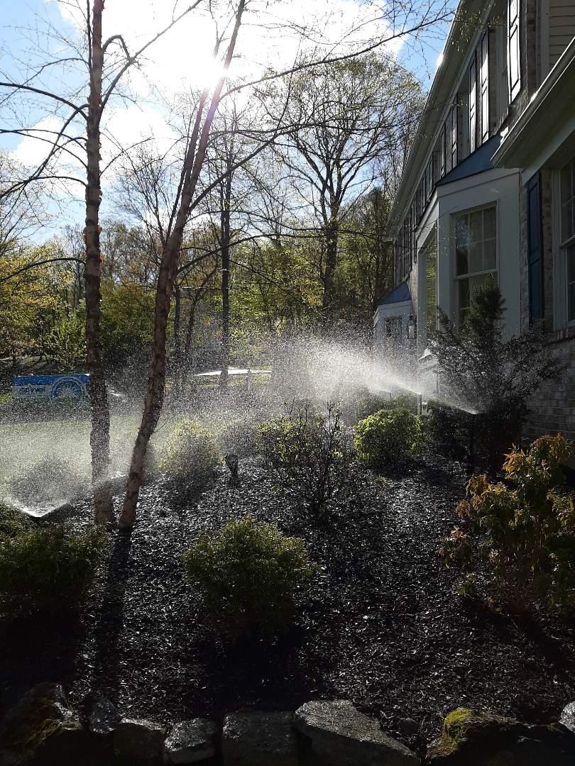 Randolph, NJ - Spring start-up, irrigation sprinkler turn on. In Randolph NJ