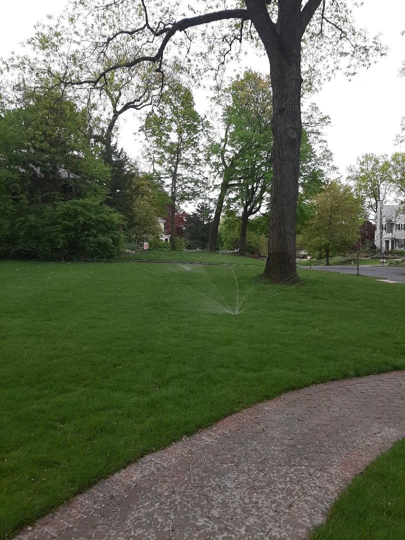 Spring start-up, irrigation sprinkler turn on. In Glen Ridge NJ