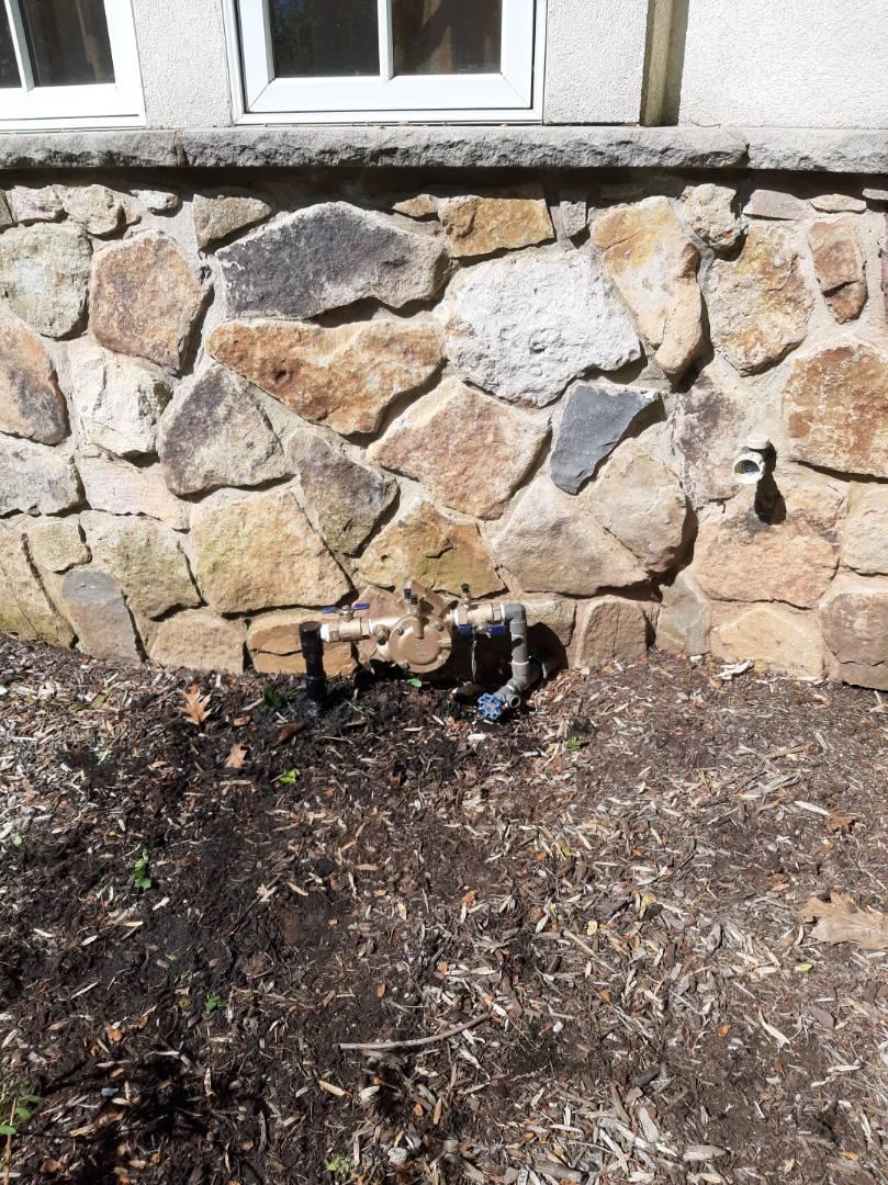 Spring start-up, irrigation sprinkler turn on. Replace Backflow. BROKEN heads leaking pipe. In Warren NJ