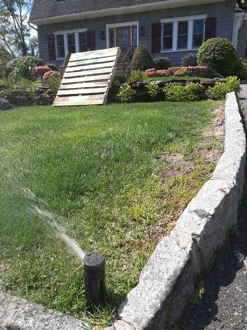 Scotch Plains, NJ - Spring start-up, irrigation sprinkler turn on. In Scotch Plains NJ