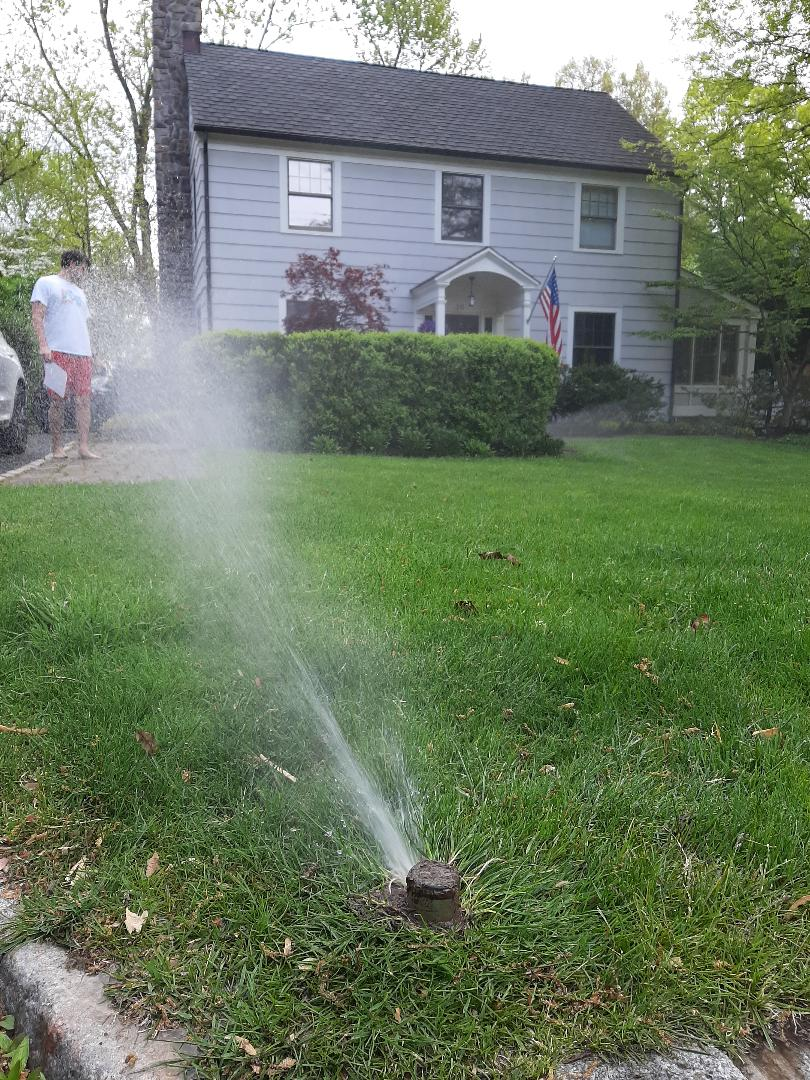 Spring start-up, irrigation sprinkler turn on. Broken main line. Leaky heads. In Chatham NJ