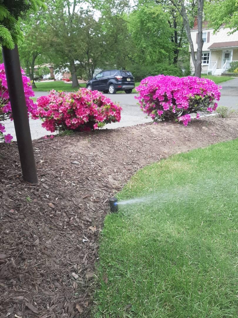Spring start-up, irrigation sprinkler turn on. In Pine Brook NJ