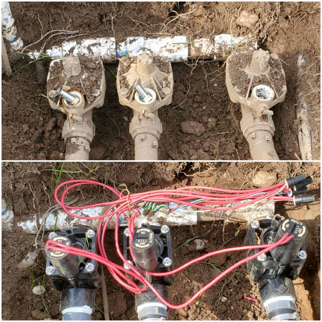 Replace sprinkler valves that were not shutting down with new hunter valves